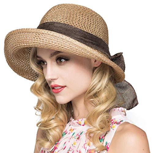 Kqpoinw Cappelli Cappellini, Ladies Cappello di Paglia Cappellino Pieghevole Floppy Wide Brim Cappello da Sole Estivo Cappelli da Spiaggia per Le Donne (Cachi)