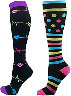 LANTOP, Calcetines de compresión para mujer LANTOP 20-30mmhg rodilla alta pantorrilla ancha para embarazo enfermería viajes circulación