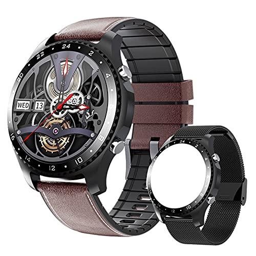 FMSBSC Reloj Inteligente Hombre con Medidor de Temperatura Corporal/Llamada Bluetooth/Pulsómetros/Sueño/SpO2/Presión Arterial, 11 Modos Deportivos, Fondo de Bricolaje