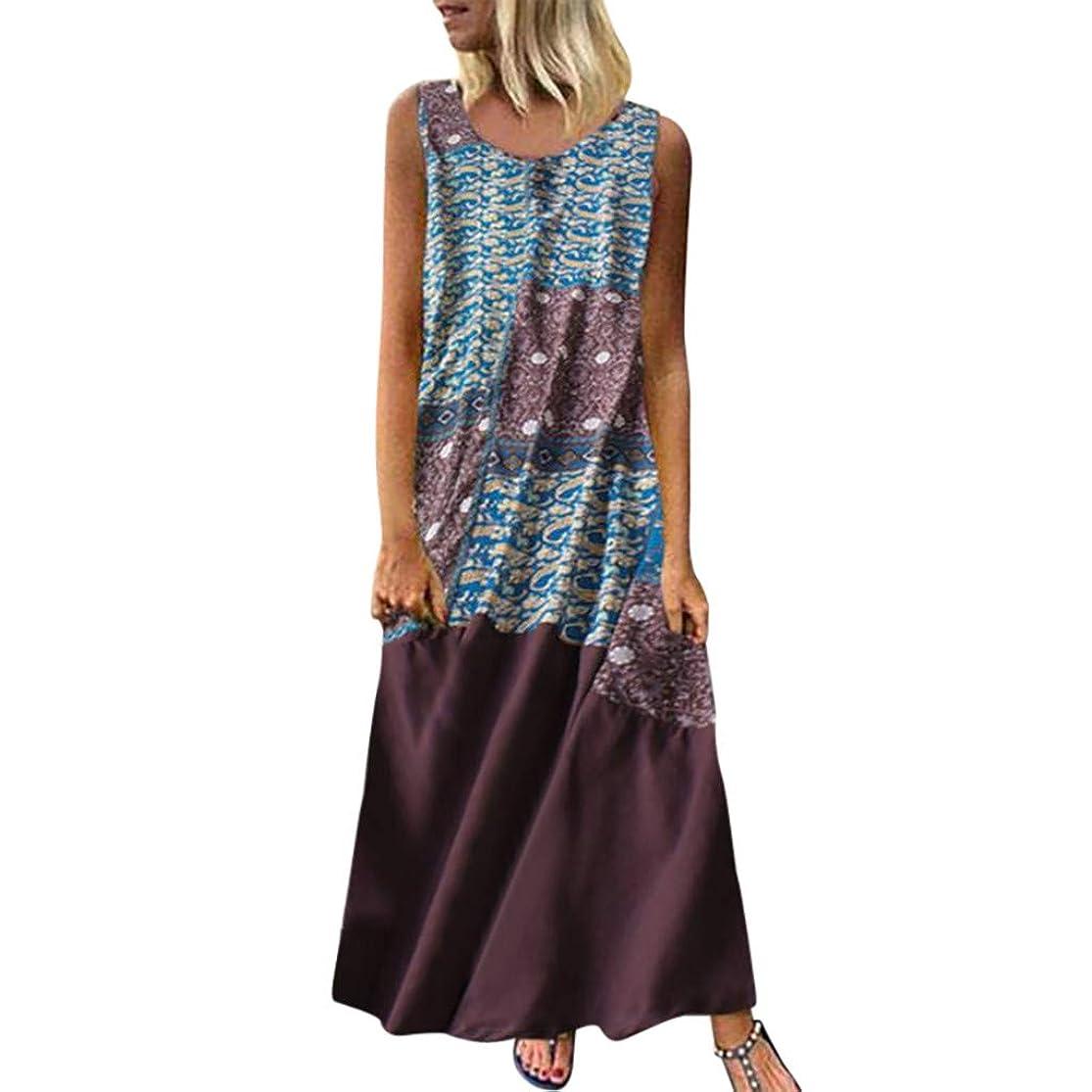 DondPo Women Vintage Bohemian Folk Dresses Summer V-Neck Boho Sleeveless Floral Printed Plus Size Beach Maxi Dress yhkyrkbz9