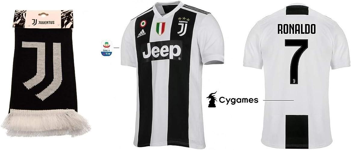 Juventus Maillot Turin pour Enfant 2018-2019 Home Serie A – Ronaldo 7 + écharpe