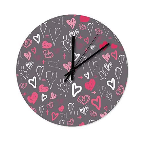 Wraill Reloj de pared redondo con corazones multicolor, 30 cm, sin ruido de tictac, moderno, de madera, para ducha, baño, cocina, color blanco, 30 x 30 cm
