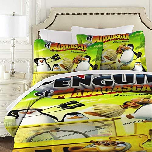Penguins Of Madagascar - Colcha de patchwork acolchada para cama de tamaño super king (3 piezas, 100% algodón, con fundas de almohada, reversibles)