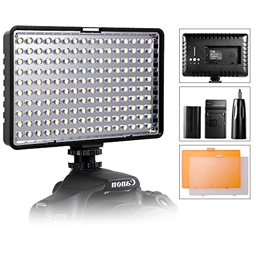 LED Video Light, SAMTIAN Ultra Bright Dimmable Camera Photo Light Panel for Canon Nikon Pentax Panasonic Sony Samsung and Olympus Digital SLR, 950LM, 93CRI+, Rechargeable Battery Included