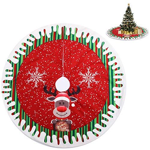 KATELUO Weihnachtsbaumdecke Rund, Filz Weihnachtsbaum Rock, Weihnachtsbaum Schürze, Weihnachtsbaum Teppich Rund mit Schneeflocke, Elch Design (Rot, 80cm)