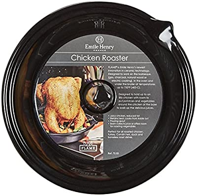 "Emile Henry Made In France Flame BBQ Chicken Roaster, 10 x 2"", Charcoal"