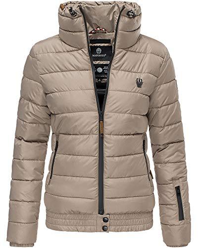 Marikoo Jacke Damen Stepp Jacke Warm Outdoor Streetwear Fleecetaschen PSN133 (X-Large, Taupe)