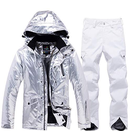 DRT dames skipak snowboard zilveren jas bling bling waterdicht winddicht sneeuw jas en broek voor regen sneeuw buiten wandelen