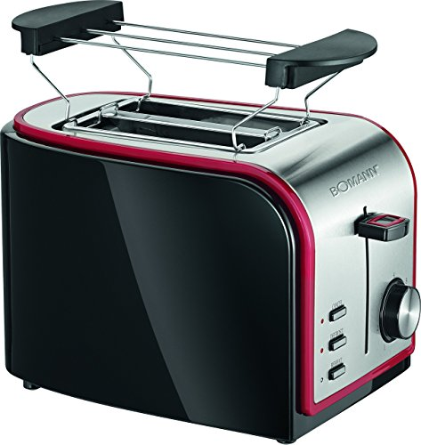 Bomann TA 1567 CB Toaster, Schwarz/rot/edelstahl