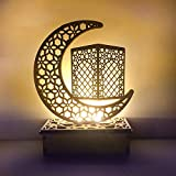 Dees Ramadan Lamp, Crafts Night Light, Handmade 3D Wooden Moon Star LED Lights Decor, Kids Night Lights for Bedroom, Home Party Bedroom Eid Ornaments Gift for Muslims, Islamic Wall Table Decor.