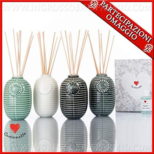 Ingrosso e Risparmio Cuorematto – Difusor de esencias jarrón de cerámica de colores, surtido en 4 colores, detalles solidarios para boda, con caja de regalo incluida