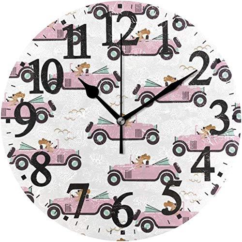 SXXXIT Reloj de Pared Redondo Reloj de Arte casero de Perro de Dibujos Animados de Carrera para Oficina en casa
