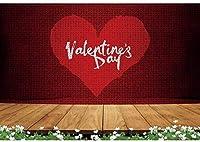 新しい2.1x1.5mVinylバレンタインデーの背景の背景写真パーティー愛好家のための赤い木製の床の花畑の背景