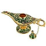 no-branded Rare Collection Classic Vintage Aladdin Magic Genie Home tetera aceite lámpara decoración y regalo (verde)