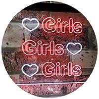 Girls Heart Bedroom Display Gift Dual Color LED看板 ネオンプレート サイン 標識 白色 + 赤色 600 x 400mm st6s64-i2223-wr