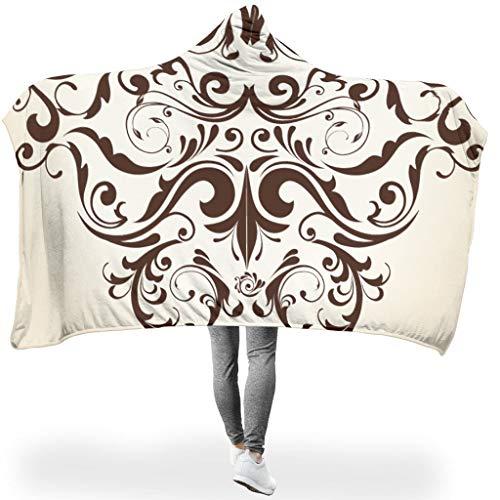 Ainiteey Patroon, soepel, draagbare sprei met capuchon, vierkant, vierkant, voor bank, in de lente of herfst of winter, elegante stijl