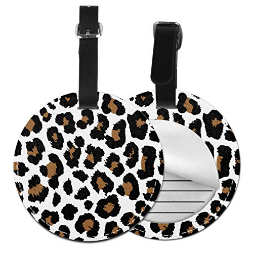 Traveling Bag Tags Colored Leopard Skin Spot Decoration Fancy Luggage Tags Travel Bag Identifier Tags with Adjustable Black Strap for Bags & Baggage with Privacy Protection for Women Men