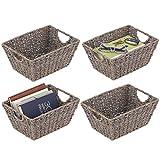mDesign Juego de 4 cestas trenzadas con asas – Prácticas cestas organizadoras...