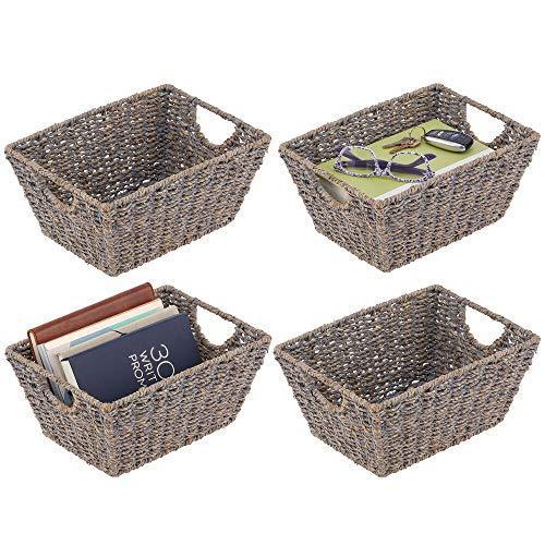 mDesign Juego de 4 cestas trenzadas con asas – Prácticas cestas organizadoras de junco marino para artículos del hogar – Organizador de estantes para salón, dormitorio, baño o pasillo – gris