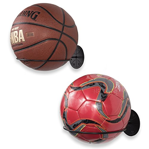 Wallniture Sporta Wall Mount Sports Ball Holder Display Storage Steel Black Set of 2 Illinois