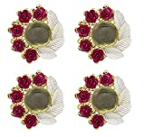Verbier Artificial Flower Tea Light Diya Candle Holder for Diwali Decoration and Gifting Use (Set of 4)