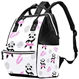 Inhomer Pink Dress Dancing Panda in Crown Diaper Bag Travel Mom Bags Nappy Backpack Large Capacity for Baby Care