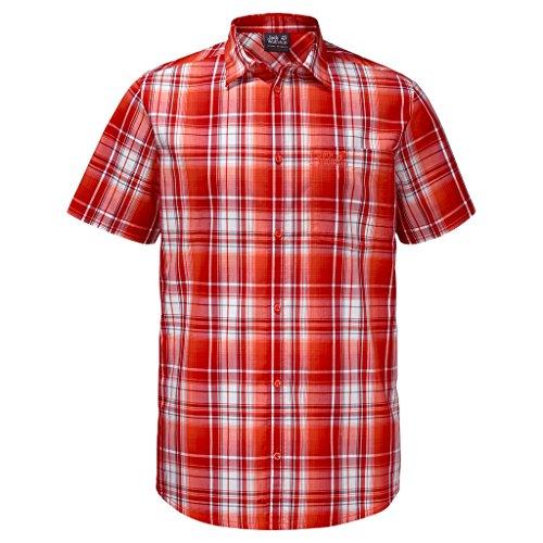 Jack Wolfskin Herren Hot Chili Shirt Men Hemd, Fiery red Checks, S