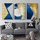 Carteles e impresiones de lienzo dorado azul Pintura de arte geométrico abstracto Estilo nórdico Pared de fondo para sala de estar Decoración para el hogar-50x75cmx3 No Frame