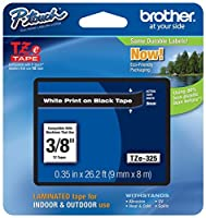 Genuine Brother 3/8 (9mm) White on Black TZe P-touch Tape for Brother PT-1280 PT1280 Label Maker [並行輸入品]