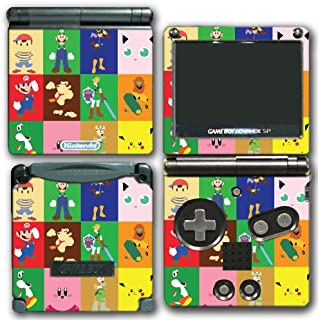Super Smash Bros Melee Brawl Original 64 Characters Minimal Art Color Video Game Vinyl Decal Skin Sticker Cover for Nintendo GBA SP Gameboy Advance System