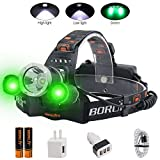 BORUIT LED Headlamp - Ultra Bright 5000 Lumens, 3 Lighting Modes,White & Green...