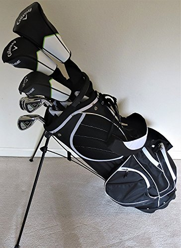 Callaway Golf Mens Set Driver, Wood, Hybrid, Irons, Putter, Stand Bag Complete Right Handed Regular Flex