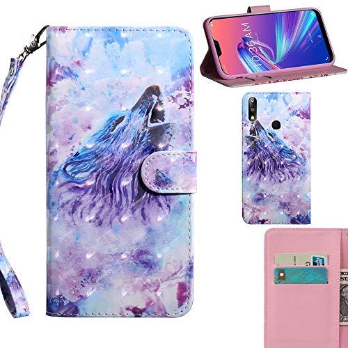 DodoBuy 3D Hülle für Asus Zenfone Max Pro M2 ZB631KL, Flip PU Leder Schutzhülle Handy Tasche Brieftasche Wallet Hülle Cover Ständer mit Kartenfächer Trageschlaufe Magnetverschluss - Wolf