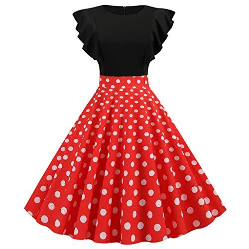 URIBAKY Damen Rüschenkleid Ärmellos Reißverschluss Cocktailkleider Rockabilly Kleid,Swing Kleider Partykleider Kurz Festlich Einzigartiges Falten Hepburn Minikleid Rundhalsausschnitt