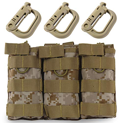 Aoutacc Tactical Magazine Pouch Holder MOLLE Triple Open-Top Mag Pouch with D-Ring Grimlock Locking for M4 M16 AR-15 Magazines (AOR1)