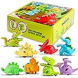 nicknack Voiture de Jouet d'enfant en Bas âge, 8 Dinosaure Jouets Press & Go pour 1, 2, 3 Ans garçon et Fille, Dino Car Toys Cadeaux pour Enfants