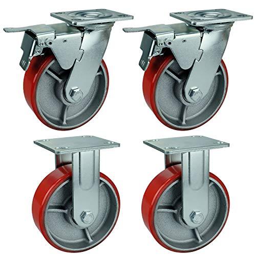 GBL - 4 Ruedas para Muebles 1280KG | 150mm Grande Ruedas Giratorias, Rueda Pivotantes, Ruedas Con Freno Industrial Con Placa de Montaje Tareas Pesadas