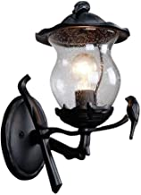 MKKM Outdoor Wandkandelaar, Creatief Ontwerp Zwarte Afwerking Wandlamp Aluminium Landelijke Rustieke Muur Lantaarn met Hel...