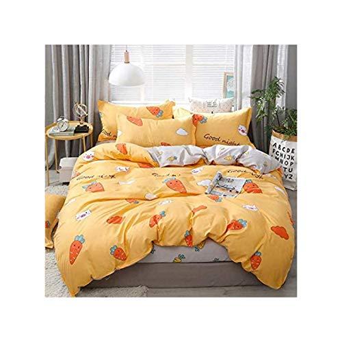 ZHANG Ropa de Cama Cómoda 4 Piezas Cama Doble Dormitorio Textil Algodón Funda de Almohada Simple Caricatura Color Cálido Patrón de Zanahoria,2.2m