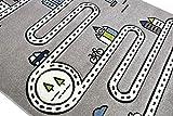 Merinos Kinderteppich Straßenteppich Lernteppich Junge mit Straßen und Häusern in Grau Größe 160x230 cm - 6