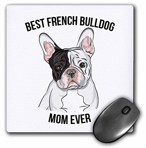 3dRose Mouse Pad Best French Bulldog Mom Ever, 8 x 8' (mp_275694_1)