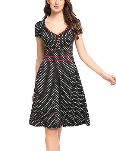 ACEVOG Damen Vintage Gepunktetes Kleid Sommer Knielang mit Kurzarm V Ausschnitt elegant Jersey Kleid Freizeitkleid (L, Schwarz)