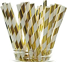 Gold Shiny Foil Straws (25 Pack) - Striped Christmas Straws, Tinsel Paper Straws for 50th Golden Anniversary, Holiday Part...
