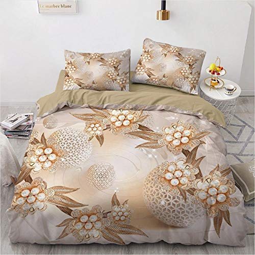 geek cook Duvet cover set,3D Bedding Set Custom Single Double King Size 3PCS Duvet Cover Set Comforter/Quilt Pillow Case Flowers Bed Set Microfiber-Flower 042-Camel_UK Double