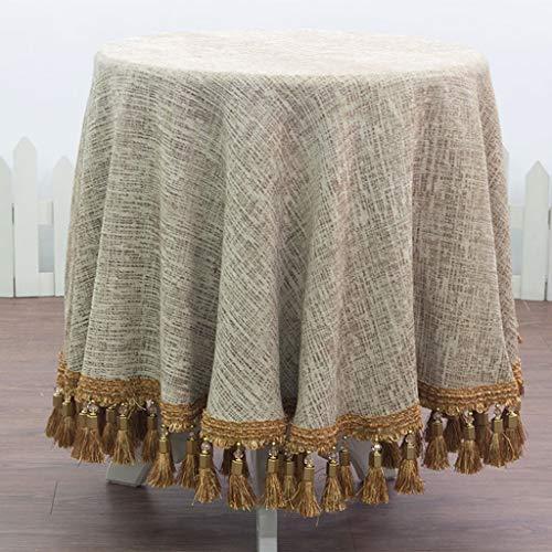 CHGDFQ Mantel redondo rectangular de algodón y lino para fiestas (color beige, tamaño: 130 x 180 cm)