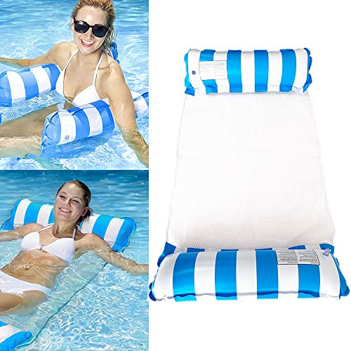 Colchoneta de agua colgante para piscina, 4 en 1, tumbona para piscina hinchable para adultos y niños (rayas azules)