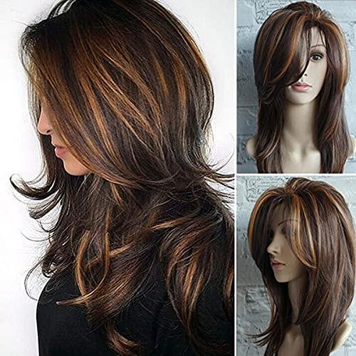 Perruque longue en couches de longueur d'épaule perruque marron clair fibre de cheveux synthétique point culminant perruques multicolores pour les femmes blanches