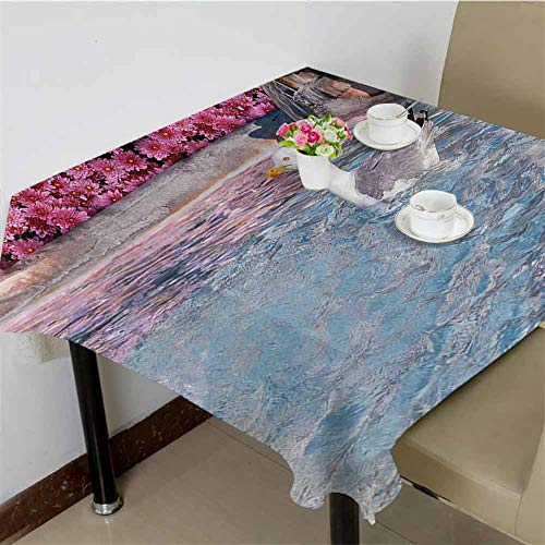 DRAGON VINES Polyester Tablecloth Seagull in Fountain Flowers Marble Statue Architecture Touristic Town Cityscape Image,Wedding Party 62 x 62 inch