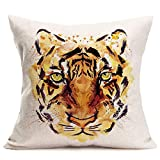 Doitely Animal Throw Pillow Cover Decorative Cotton Linen Cushion Cover 18 x 18 Inches Pillow Case Abstract Vivid Tiger Head Watercolor Style Hidden Zipper Home Decor Sofa Couch Bedroom Living Room