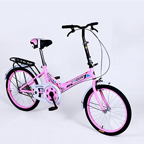 YEARLY Bicicletta Pieghevole Donna, Adulti Bici Pieghevole Ladies Biciclette Uomini e Donne Stile Auto Studente Bicicletta Pieghevole-Rosa 20inch
